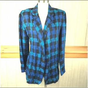 Vintage 90s Blue Teal Plaid Rayon Blazer Jacket